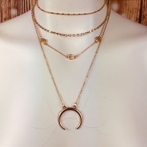 Multi Chain Half Moon Necklace